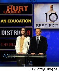 Actress Anne Hathaway and Academy of Motion Picture Arts and Sciences President Tom Sherak announce the nominees for the Best Picture during the 82nd Academy Awards nominations