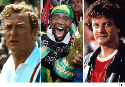 Michael Caine, South African football fan, Colin Firth
