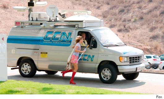 Sandra Bullock running with van, All About Steve