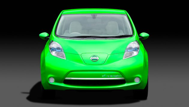 Green Nissan Leaf