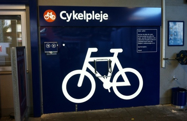 In Denmark, some gas stations transform into bicycle repair