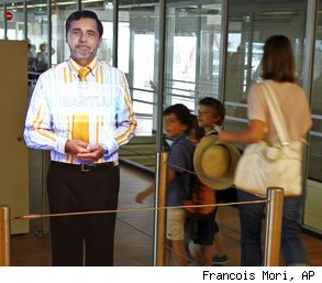 france airport hologram ticket agent