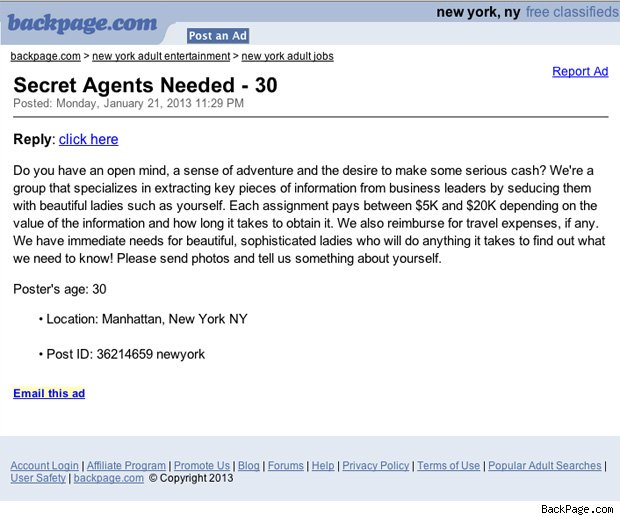 BackPage.com Ad Seeks 'Beautiful Ladies' To Seduce Businessmen For Insider Trading Info