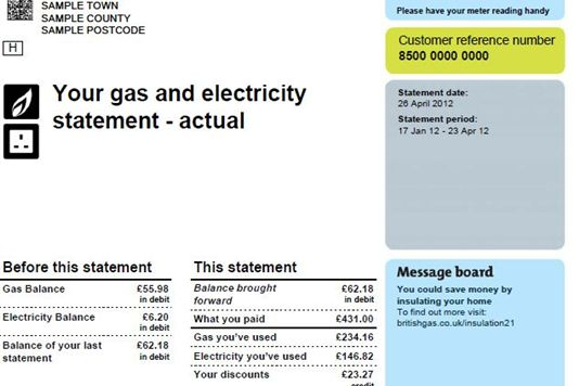 Gas and electricity: gas and electricity bill.
