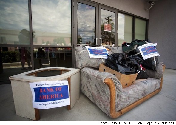bank of american trash deposit blighted home protest