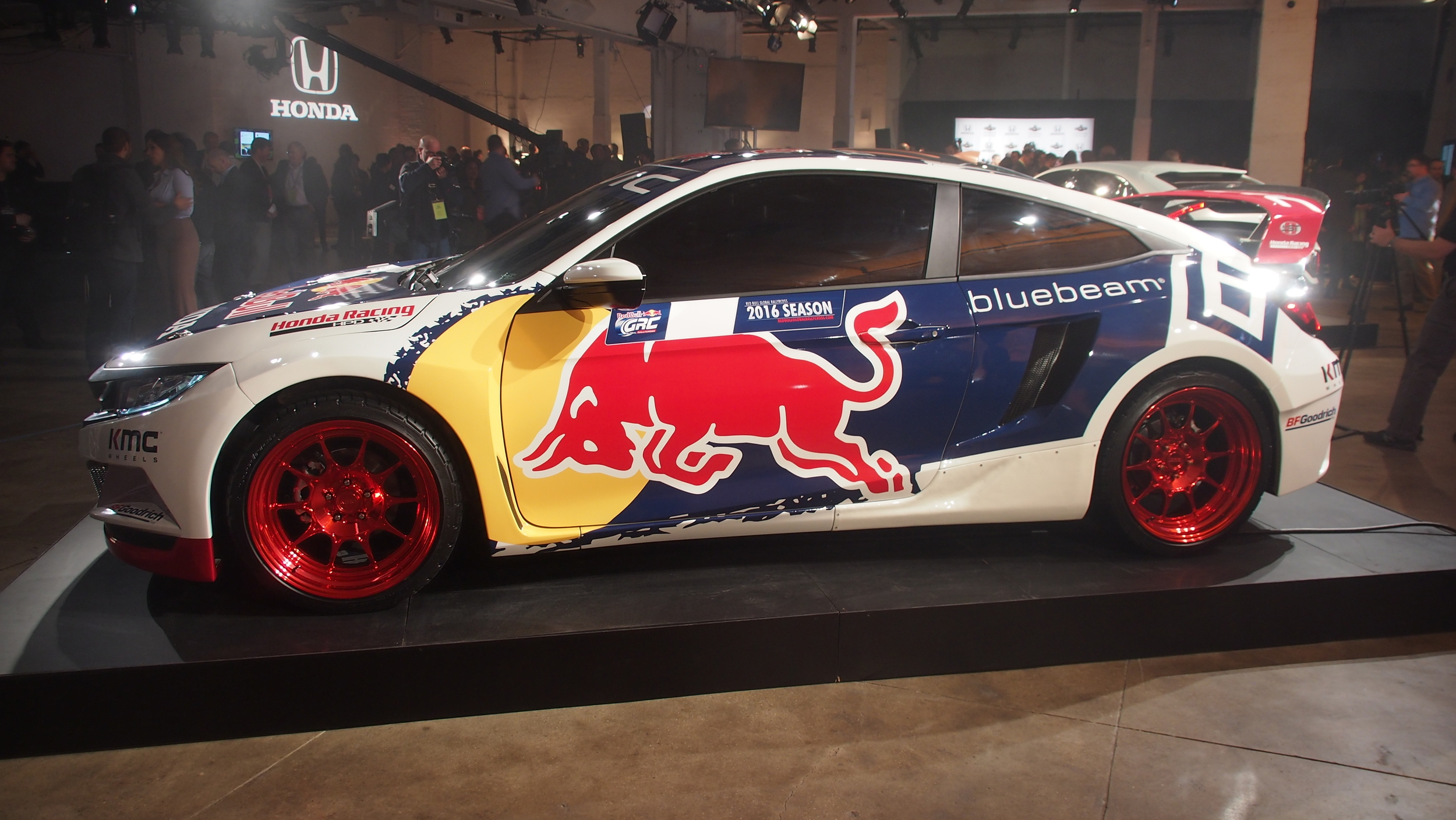 2016 honda civic coupe red bull global rallycross race car debuts in - The Honda Civic Coupe Grx Car Will Be Ready To Compete In The Season Opener On May 21st And 22nd At Phoenix S Wild Horse Pace Motorsports Park