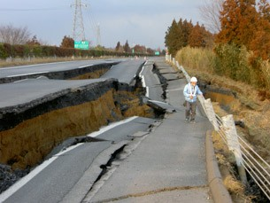 Japan earthquake damaged road