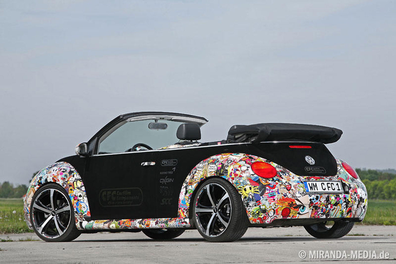 VW New Beetle Convertible gets stickerbombed - Autoblog