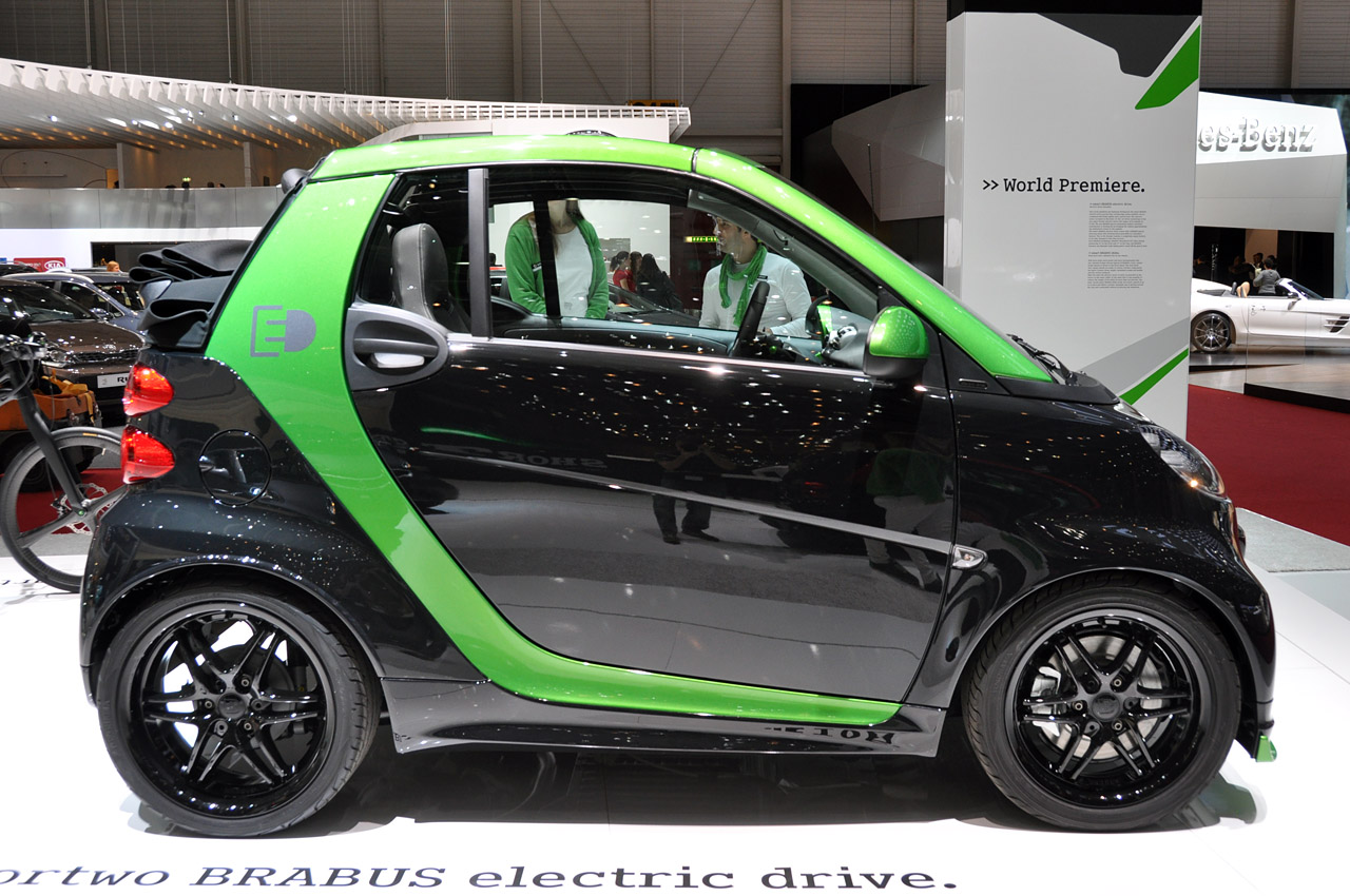 Smart Fortwo Brabus Electric Drive Is A Black And Green