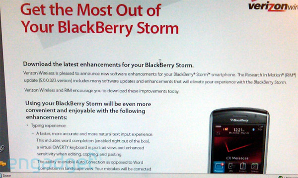 No verizon blackberry storm os update for now.
