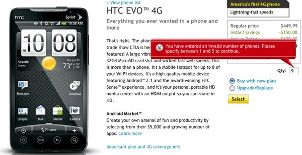 Evo 4g Now For Sale At Sprint Online