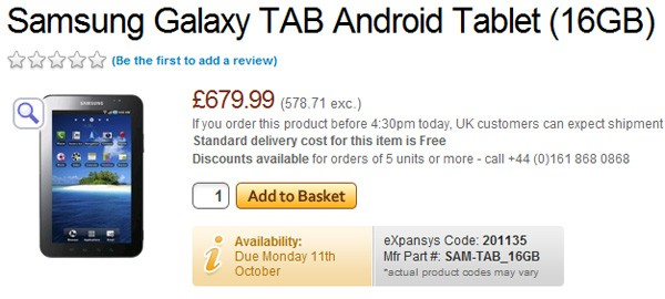 Samsung Galaxy Pad available on pre-order