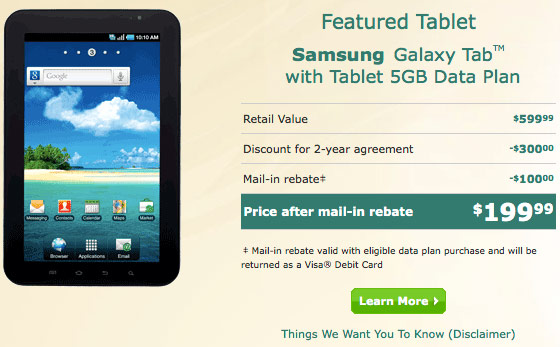 us cellular rebate Samsung Galaxy Tab Price Reduction on US Cellular