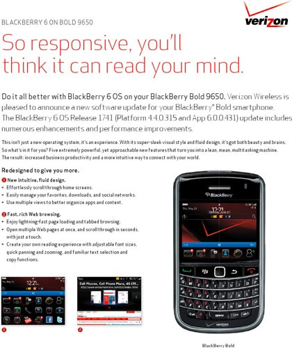 Verizon offering BlackBerry 6 upgrades for Bold 9650 and Curve 3G