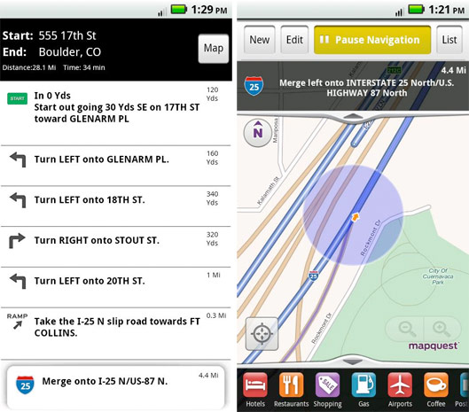 MapQuest for Android brings free turn-by-turn navigation ...