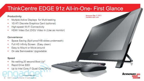 Lenovo ThinkCentre Edge 91z leaks out: a 21 5-inch all-in