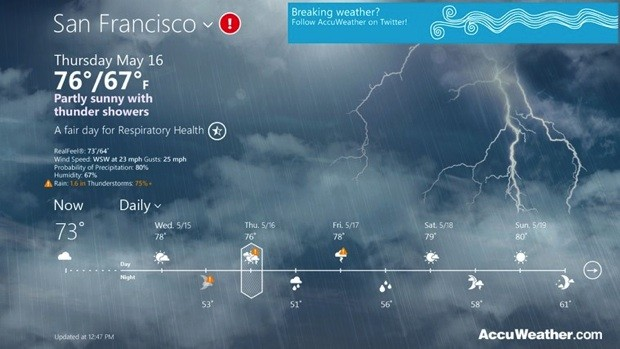 AccuWeather launches for Windows 8, lets you know if it's dry