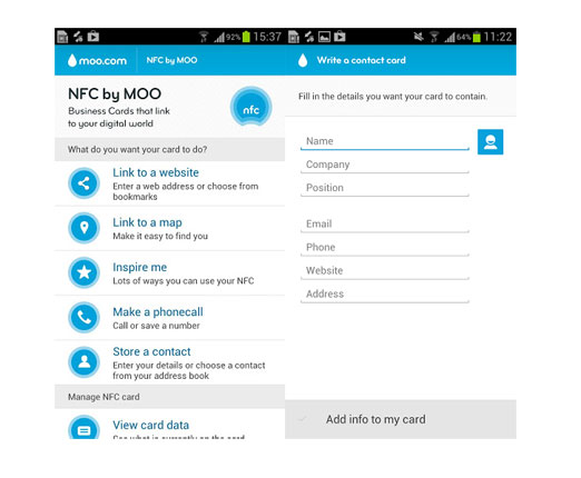 Moos nfc tagging app hits google play nfc business card not required reheart Images