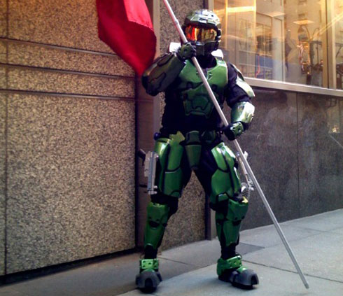 & Impressive homemade Master Chief costume at Halo launch NYC