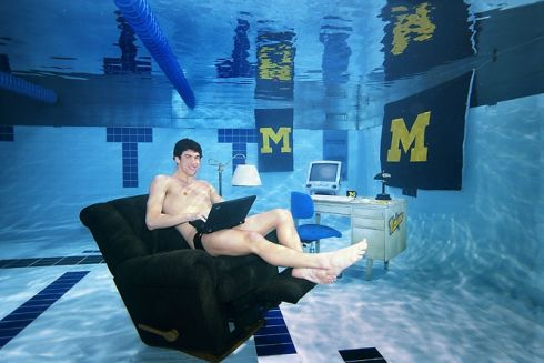 60 minutes michael phelps game in the works - University of michigan swimming pool ...