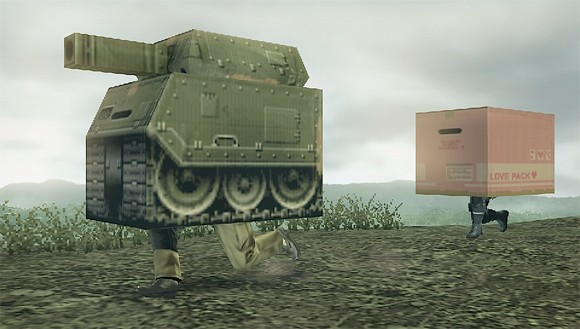 mgs peace walker screens are hiding under a cardboard tank