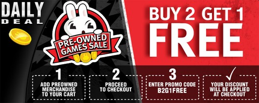Pro Offer: Purchase Two Pre-owned Products and Get One Pre-owned Product of Equal or Lesser Price Free (valid 1/1/17 - 4/15/17) Signed up for pro a while back and bought a some pre-owned games online. The offer shows up under my PowerUp rewards as a hyperlink but clicking it does nothing.