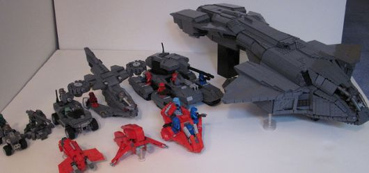 a whole fleet of lego halo vehicles ready for deployment