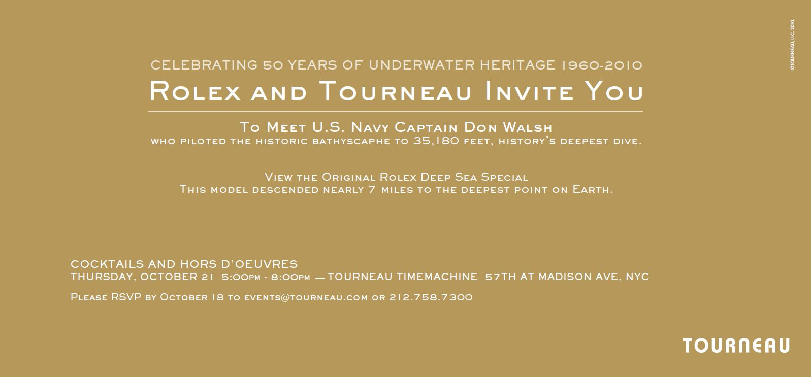 Rolex Deep Sea Watch 50th Anniversary Event With Tourneau In NYC