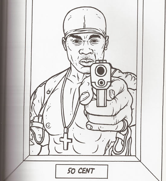 Gangsta rap coloring book 50 cent for Rapper coloring pages